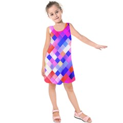 Squares Pattern Geometric Seamless Kids  Sleeveless Dress