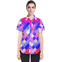 Squares Pattern Geometric Seamless Women s Short Sleeve Shirt