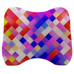 Squares Pattern Geometric Seamless Velour Head Support Cushion