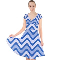Waves Wavy Lines Pattern Design Cap Sleeve Front Wrap Midi Dress