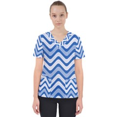 Waves Wavy Lines Pattern Design Women s V Neck Scrub Top