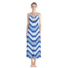 Waves Wavy Lines Pattern Design Button Up Chiffon Maxi Dress