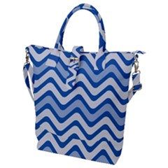 Waves Wavy Lines Pattern Design Buckle Top Tote Bag
