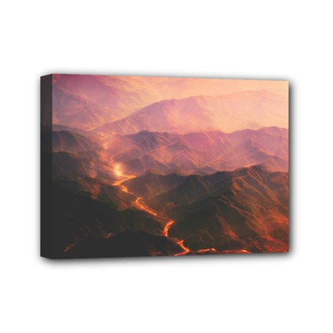 Volcanoes Magma Lava Mountains Mini Canvas 7  X 5  (stretched)