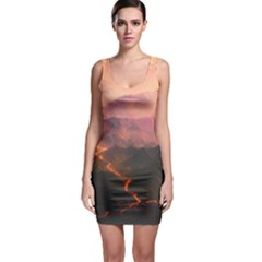 Volcanoes Magma Lava Mountains Bodycon Dress by Sapixe