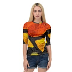 Colorful Glass Mosaic Art And Abstract Wall Background Quarter Sleeve Raglan Tee