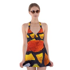 Colorful Glass Mosaic Art And Abstract Wall Background Halter Dress Swimsuit