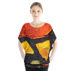 Colorful Glass Mosaic Art And Abstract Wall Background Batwing Chiffon Blouse