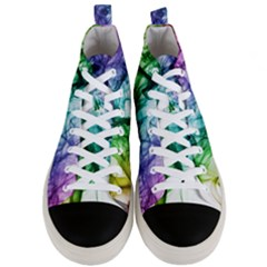 Colour Smoke Rainbow Color Design Men s Mid Top Canvas Sneakers
