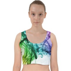 Colour Smoke Rainbow Color Design Velvet Racer Back Crop Top