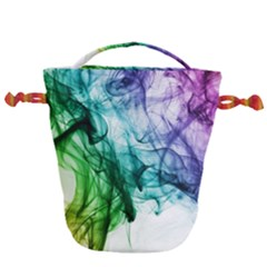 Colour Smoke Rainbow Color Design Drawstring Bucket Bag by Jojostore