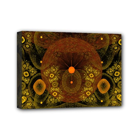 Fractal Yellow Design On Black Mini Canvas 7  X 5  (stretched) by Jojostore