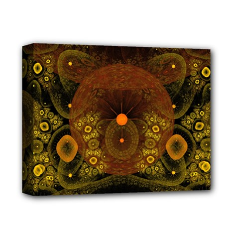 Fractal Yellow Design On Black Deluxe Canvas 14  X 11  (stretched) by Jojostore