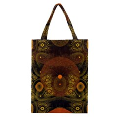 Fractal Yellow Design On Black Classic Tote Bag
