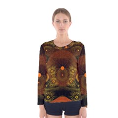 Fractal Yellow Design On Black Women s Long Sleeve Tee by Jojostore