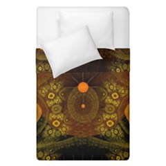 Fractal Yellow Design On Black Duvet Cover Double Side (single Size) by Jojostore