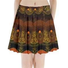Fractal Yellow Design On Black Pleated Mini Skirt by Jojostore