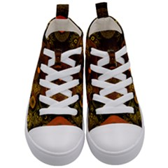 Fractal Yellow Design On Black Kid s Mid Top Canvas Sneakers