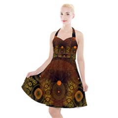 Fractal Yellow Design On Black Halter Party Swing Dress