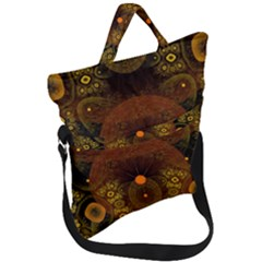 Fractal Yellow Design On Black Fold Over Handle Tote Bag