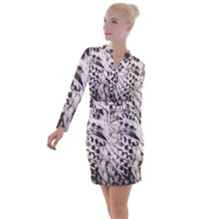 White Feather Button Long Sleeve Dress