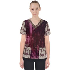 Wordsworth Red Mix 4 Women s V-neck Scrub Top