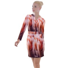 Flamingo Feathers Button Long Sleeve Dress