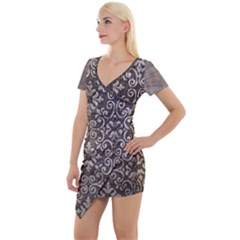 Wordsworth Grey Mix 3 Short Sleeve Asymmetric Mini Dress by DeneWestUK
