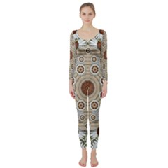 Flower Wreath In The Jungle Wood Forest Long Sleeve Catsuit