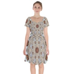 Flower Wreath In The Jungle Wood Forest Short Sleeve Bardot Dress