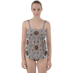 Flower Wreath In The Jungle Wood Forest Twist Front Tankini Set