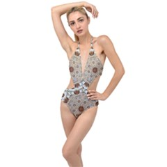 Flower Wreath In The Jungle Wood Forest Plunging Cut Out Swimsuit by pepitasart