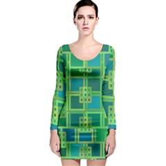 Green Abstract Geometric Long Sleeve Bodycon Dress