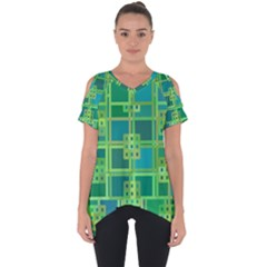 Green Abstract Geometric Cut Out Side Drop Tee by Sapixe