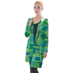 Green Abstract Geometric Hooded Pocket Cardigan