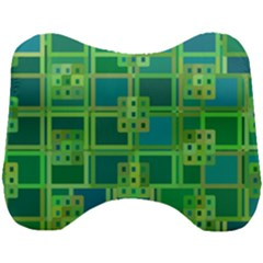 Green Abstract Geometric Head Support Cushion by Sapixe