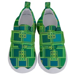 Green Abstract Geometric Velcro Strap Shoes