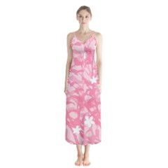 Plant Flowers Bird Spring Button Up Chiffon Maxi Dress