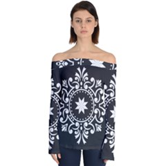 Table Pull Out Computer Graphics Off Shoulder Long Sleeve Top by Sapixe