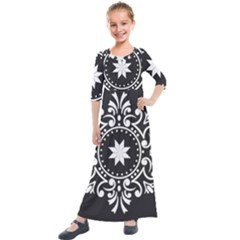 Table Pull Out Computer Graphics Kids  Quarter Sleeve Maxi Dress