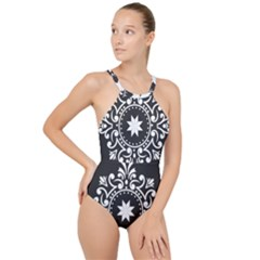 Table Pull Out Computer Graphics High Neck One Piece Swimsuit