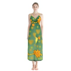 Background Design Texture Tulips Button Up Chiffon Maxi Dress