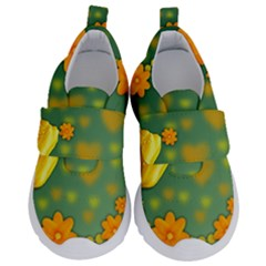 Background Design Texture Tulips Velcro Strap Shoes