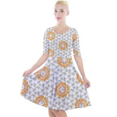Stamping Pattern Fashion Background Quarter Sleeve A Line Dress
