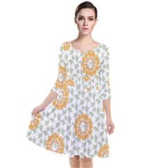 Stamping Pattern Fashion Background Quarter Sleeve Waist Band Dress