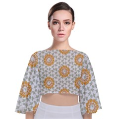Stamping Pattern Fashion Background Tie Back Butterfly Sleeve Chiffon Top by Sapixe
