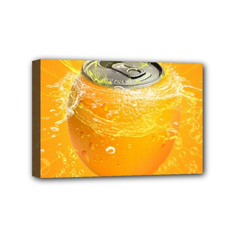 Orange Drink Splash Poster Mini Canvas 6  X 4  (stretched) by Sapixe