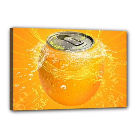 Orange Drink Splash Poster Canvas 18  X 12  (stretched) by Sapixe