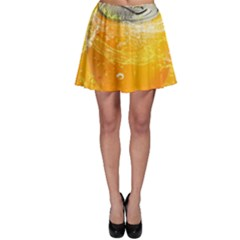 Orange Drink Splash Poster Skater Skirt by Sapixe