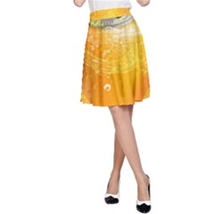 Orange Drink Splash Poster A Line Skirt